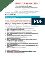 Masters et stages de spécialisation en Belgique