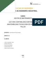 Lectura Confiabilidad Disponibilidad Mantenibilidad Grupo 2