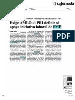 Exige AMLO Al PRI Definir Si Apoya Iniciativa Laboral de SME