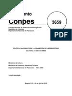 CONPES Industrias Culturales y Creativas