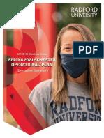 Radford University Spring 2021 Semester Operational Plan