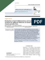 Antiinflammatory and Anti Arrthritic Acivity