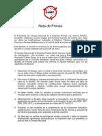 Nota de Prensa 27-1-2011 Sobre Tributos Municipales