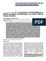 The ASSESSMENT of TAXATION on PERFORMANCE of MICRO and SMALL ENTERPRISE in the CASE of NEDJO TOWN, ETHIOPIA
