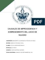TAREA 5 CAUSALES DE IMPROCEDENCIA Y SOBRESEIMIENTO DEL JUICIO DE NULIDAD