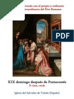 XIX Domingo Despues de Pentecostes Propio y Ordinario