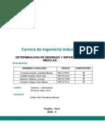 PRÁCTICA N° 3 - DETERMINACION DE DENSIDAD Y SEPARACION DE MEZCLAS