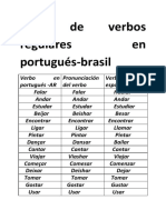 Lista de Verbos Regulares en Portugués