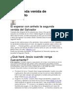 la segunda Venida de jesus