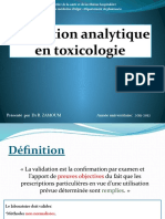 Validation Analytique en Toxicologie Par Dr ZAMOUM