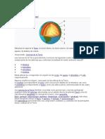 Estructura en capas de la Tierra. (1) núcleo interno; (2) núcleo externo; (3) manto inferior; (4) manto.docx