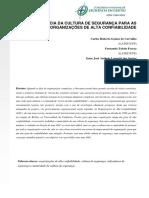A IMPORTÂNCIA DA CULTURA DE SEGURANÇA PARA AS ORGANIZAÇÕES DE ALTA CONFIABILIDADE
