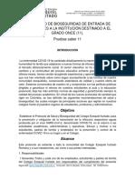 PROTOCOLO DE BIOSEGURIDAD DE ENTRADA DE ESTUDIANTES A LA INSTITUCIÓN