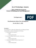 UTech FBE SBLM Civil Eng 1 Assignment-Final exam OPT 3 Jan 2020