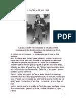 Lacan, Conférence Donnée Le 19 Juin 1968