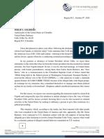 Carta a la Embajada de Estados Unidos en Colombia