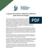 Agencia Fitch Ratificó Nota de Uruguay
