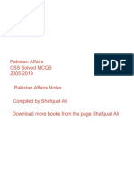 Pakistan Affairs 2005-2019 solved mcqs and notes