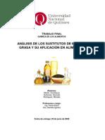 Análisis de los sustitutos de materia grasa y su aplicación en alimentos