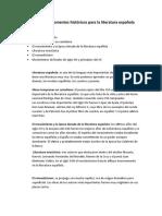 Importancia de momentos históricos para la literatura española 1