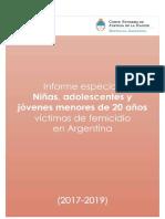 Informe sobre niñas y adolescentes víctimas de femicidios