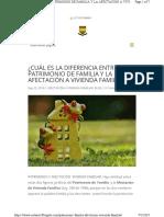 DIFERENCIA ENTRE EL PATRIMONIO DE FAMILIA Y LA AFECTACIÓN A VIVIENDA FAMILIAR