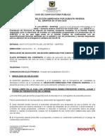 12. AVISO DE CONVOCATORIA - IDARTES-SA-SI-003-2020- CABINAS SANITARIAS