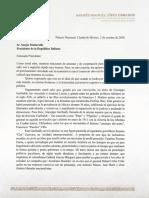 Carta Al Presidente de La Republica Italiana Sergio Mattarella