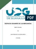 Tarea 4 Semana 5 Mapa Mental Despacho Aduanero de las Mercancías_Villegas García_9°A