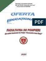 Oferta Educationala Facultatea de Pompieri 2020