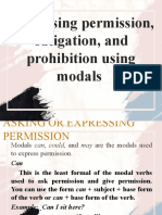 Expressing Permission, Obligation, and Prohibition using Modals