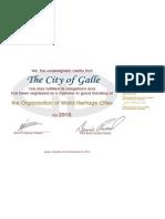 Galle-Municipal Council -Organization of World Heritage City