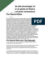 NAOMI KLEIN - Distopía de alta tecnología