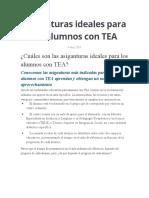 Asignaturas ideales para los alumnos con TEA