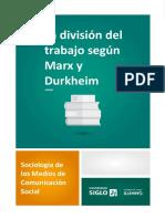 La división del trabajo según Marx y Durkheim