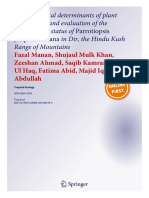 Environmental Determinants of Plant Associations and Evaluation of the Conservation Status of Parrotiopsis Jacquemontiana in Dir, The Hindu Kush Range of Mountains