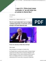 Kissinger says U.S