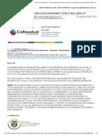 Correo de CAFESALUD EPS SA EN LIQUIDACION - Fwd_ URGENTE NOTIFICACIÓN AUTO ADMISORIO TUTELA RAD. 2020-113