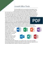 Basics of Microsoft Office Tools