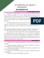 Secuencia Didáctica de Agosto y Septiembre MATEMATICA - 2020