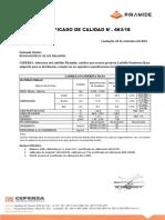 CERTIFICADO DE CALIDAD Pandereta Raya  463 - 06.09.18