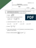 2012 - 1er Parcial Unidad Introductoria (enunciado)- Matematica I - UNPSJB- FCE