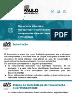 Documento orientador - Recuperação e aprofundamento além de Língua Portuguesa e Matemática