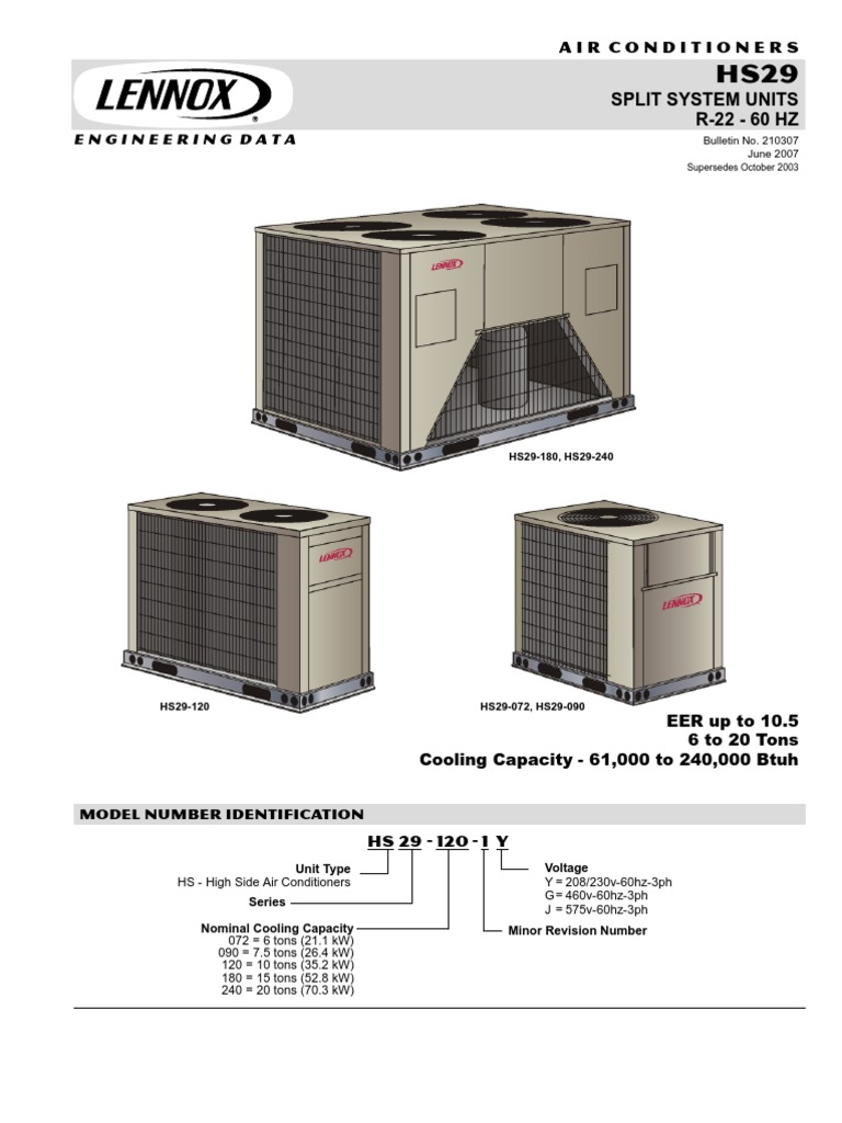 lennox hs29 3phase gas compressor air conditioning rh scribd com Lennox Furnace Wiring Diagram Basic Air Conditioning Wiring Diagram