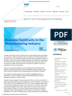 Business Continuity in the Manufacturing Industry