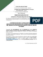 AVISO DE CONVOCATORIA-01 CONSULTOR BOVINO PARA LA PROVINCIA DE CHINCHA
