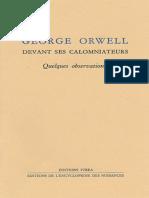 EBOOK George Orwell devant ses calomniateurs Encyclopedie des nuisances