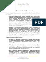 Declaración Álvaro Uribe Vélez 121020