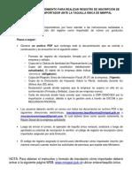 PLANILLA PARA REGISTRAR LA INSCRIPCION DE IMPORTADOR  ANTE MINPAL