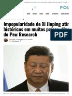 Impopularidade de Xi Jinping atinge níveis históricos em muitos países, diz pesquisa do Pew Research – Conexão Política